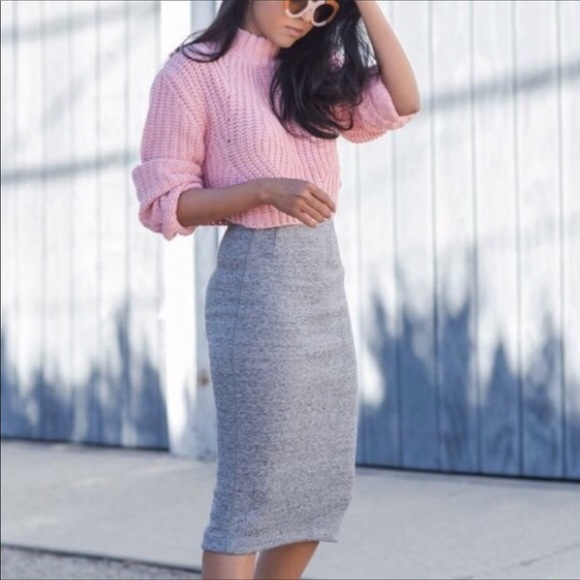 ce6010636021 H&M Skirts | Hm Heather Grey Pencil Skirt W Zipper Slit | Poshmark